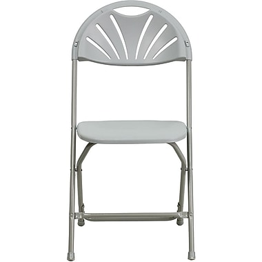 Flash Furniture HERCULES Series 440 lb. Capacity Plastic Fan Back Folding Chair, Gray, 32/Pack