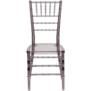 Flash Furniture Elegance Crystal Resin Stacking Chiavari Chair, Smoke, 20/Pack
