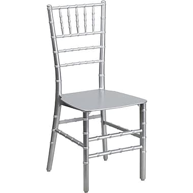 Flash Furniture Elegance Resin Stacking Chiavari Chair, Silver, 10/Pack