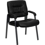 Flash Furniture Leather Executive Side Chair with Titanium Frame Finish, Black