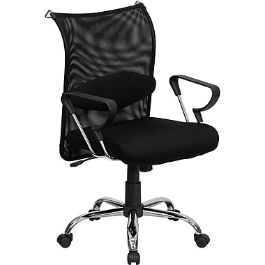 Flash Furniture Mid-Back Mesh Manager's Chair, Fixed Arms, Black