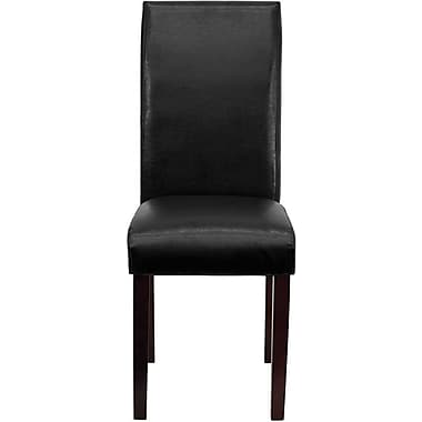 Flash Furniture Leather Upholstered Parsons Chair, Black