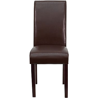 Flash Furniture Leather Upholstered Parsons Chair, Dark Brown