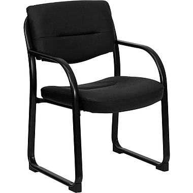 Flash Furniture Leather Executive Side Chair with Sled Base, Black
