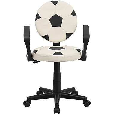 Flash Furniture Vinyl Soccer Task Chair With Arms, Black/White