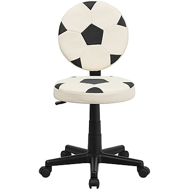 Flash Furniture Vinyl Soccer Task Chair Without Arms, Black/White