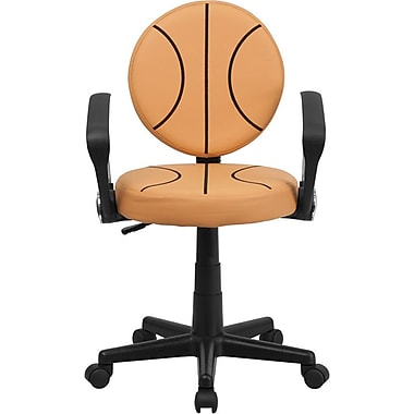 Flash Furniture Vinyl Basketball Task Chair With Arms, Orange
