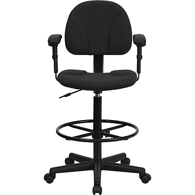 Flash Furniture Fabric Ergonomic Drafting Stool with Arms (Adjustable Range 26''-30.5''H or 22.5''-27''H), Black Patterned