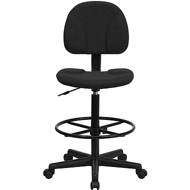 Flash Furniture Fabric Ergonomic Drafting Stool (Adjustable Range 26''-30.5''H or 22.5''-27''H), Black Patterned