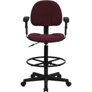 Flash Furniture Fabric Ergonomic Drafting Stool with Arms (Adjustable Range 26''-30.5''H or 22.5''-27''H), Burgundy