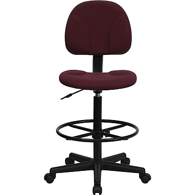 Flash Furniture Mid Back Fabric Ergonomic Drafting Stool, Burgundy