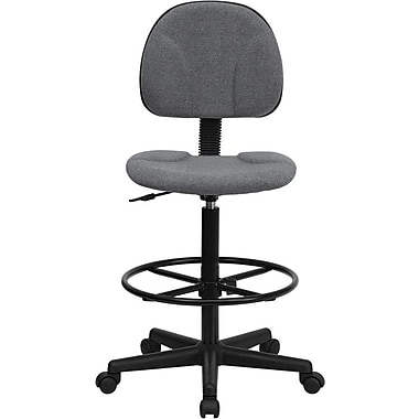 Flash Furniture Mid Back Fabric Ergonomic Drafting Stool, Gray