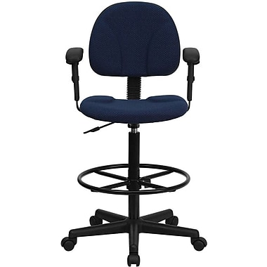 Flash Furniture Mid Back Fabric Ergonomic Drafting Stool With Arms, Navy Blue
