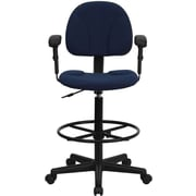 Flash Furniture Fabric Ergonomic Drafting Stool with Arms (Adjustable Range 26''-30.5''H or 22.5''-27''H), Navy Blue Patterned