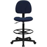Flash Furniture Fabric Ergonomic Drafting Stool (Adjustable Range 26''-30.5''H or 22.5''-27''H), Navy Blue Patterned