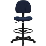 Flash Furniture Fabric Ergonomic Drafting Stool (Adjustable Range 26''-30.5''H or 22.5''-27''H), Navy Blue Patterned