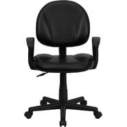 Flash Furniture Mid-Back Leather Computer Chair with Arms, Black