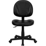 Flash Furniture Mid Back Leather Ergonomic Task Chair, Black