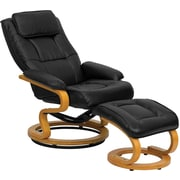 Flash Furniture Contemporary Leather Recliner and Ottoman with Swiveling Maple Wood Base, Black