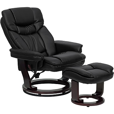 Flash Furniture Contemporary Leather Recliner and Ottoman with Swiveling Mahogany Wood Base, Black