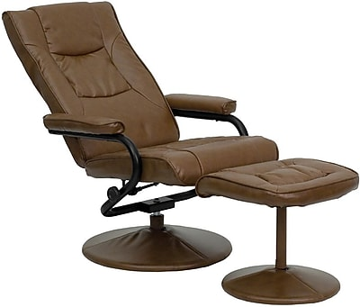 Flash Furniture Contemporary Leather Recliner and Ottoman with Leather Wrapped Base, Palimino 200866