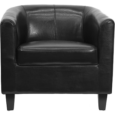 Flash Furniture Leather Office Guest Chair / Reception Chair, Black