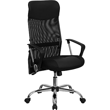 Flash Furniture High Back Split Leather Chair with Mesh Back, Black