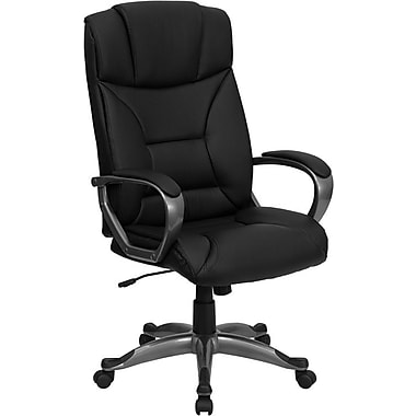 Flash Furniture High Back Leather Executive Office Chair with Titanium Base, Black