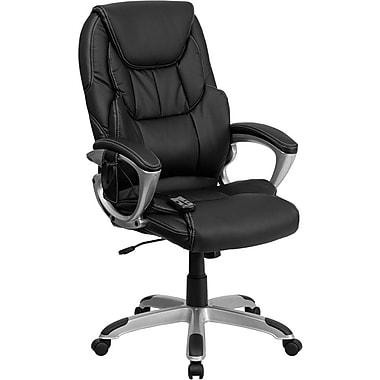 Flash Furniture High Back Leather Massaging Executive Office Chair With Silver Base, Black