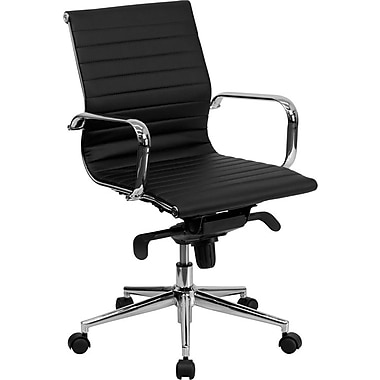 Flash Furniture Mid Back Ribbed Faux Leather Conference Chair, Black