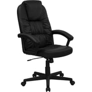 Flash Furniture High Back Leather Executive Swivel Office Chair with Gathered Upholstery, Black