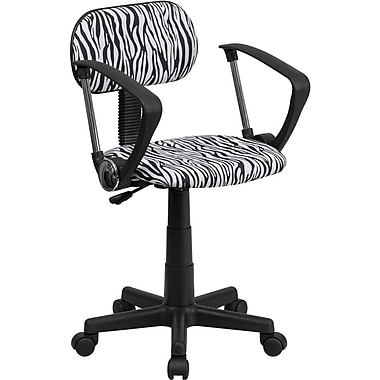 Flash Furniture Mid Back Computer Chair with Arms, Black/White Zebra