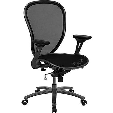 Flash Furniture Mid-Back Professional Super Mesh Chair Featuring Solid Metal Construction with Black Accents, Black