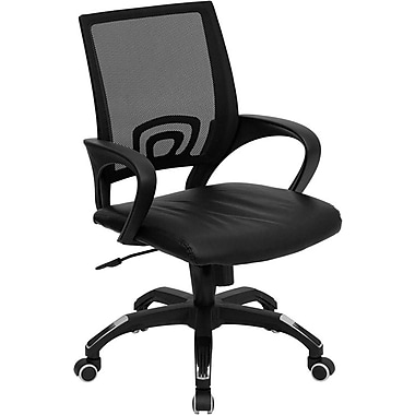 Flash Furniture Mid-Back Mesh Computer Chair with Leather Seat, Black