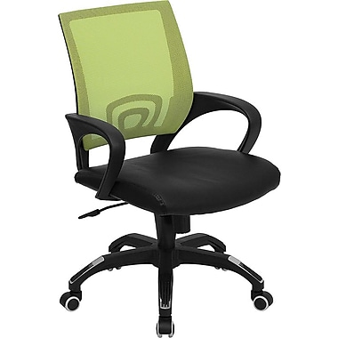 Flash Furniture Mid Back Mesh Computer Chair With Black Leather Seat, Green