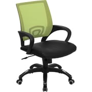Flash Furniture Mid-Back Mesh Computer Chair with Black Leather Seat, Green