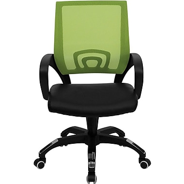 Flash Furniture CPB176A01GN LeatherSoft Mid-Back Task Chair with Fixed Arms, Green/Black