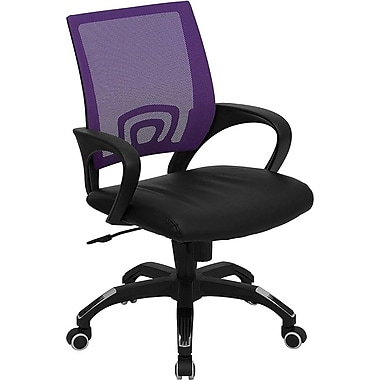 Flash Furniture Mid-Back Mesh Computer Chair with Black Leather Seat, Purple