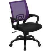 Flash Furniture CPB176A01PUR LeatherSoft Mid-Back Task Chair with Fixed Arms, Purple/Black