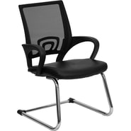 Flash Furniture Leather Office Side Chair with Mesh Back and Sled Base, Black