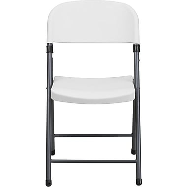 Flash Furniture HERCULES™ Plastic Armless Folding Chair With Charcoal Frame, White, 20/Pack