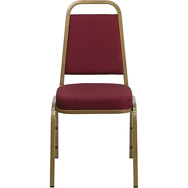Flash Furniture HERCULES Series Trapezoid Back Banquet Stack Chair with Burgundy Pattern Fabric and Gold Frame Finish, 4/Pack