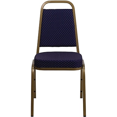 Flash Furniture HERCULES Series Trapezoid Back Banquet Stack Chair with Navy Pattern Fabric and Gold Frame Finish, 10/Pack