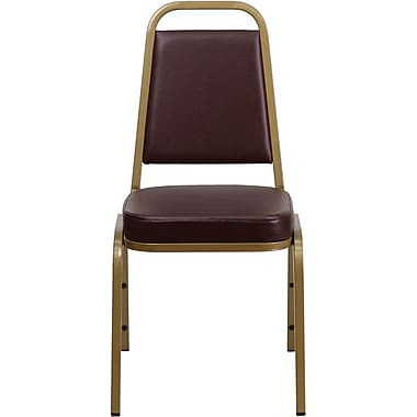Flash Furniture HERCULES Series Trapezoidal Back Stacking Banquet Chair with Brown Vinyl and Gold Frame Finish, 10/Pack