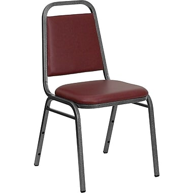 Flash Furniture HERCULES Series Trapezoid Back Banquet Chair Stack with Burgundy Vinyl and Silver Vein Frame Finish, 20/Pack