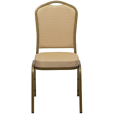 Flash Furniture HERCULES Series Crown Back Stacking Banquet Chair with Beige Patterned Fabric and Gold Frame Finish, 10/Pack