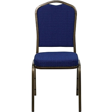 Flash Furniture HERCULES Series Crown Back Banquet Stack Chair with Navy Blue Pattern Fabric and Gold Vein Frame Finish, 10/Pack