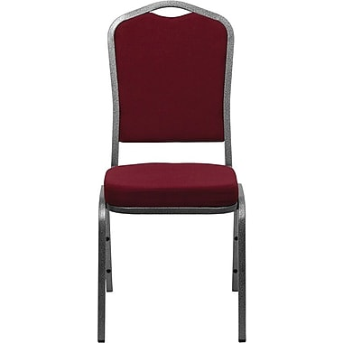 Flash Furniture HERCULES Series Crown Back Stacking Banquet Chair with Burgundy Fabric and Silver Vein Frame Finish, 4/Pack