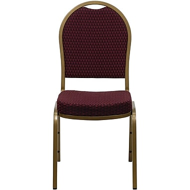 Flash Furniture HERCULES Series Dome Back Stacking Banquet Chair with Burgundy Patterned Fabric and Gold Frame Finish, 4/Pack