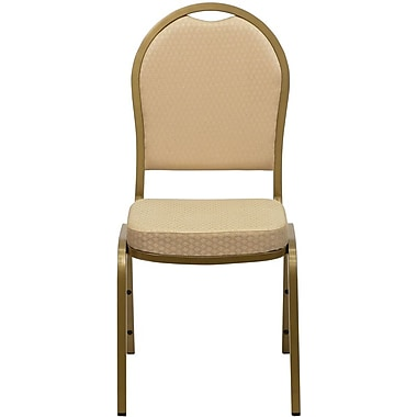 Flash Furniture HERCULES Series Dome Back Stacking Banquet Chair with Beige Pattern Fabric and Gold Frame Finish, 10/Pack